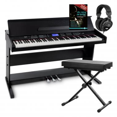 FunKey DP-88 II Digital Piano Black Set with keyboard bench, headphones and piano school