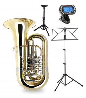 Classic Cantabile BRASS T-190 4/4 Bb Tuba Lot incl. Métronome, Embouchure Pupitre Notes, Stand Tubas