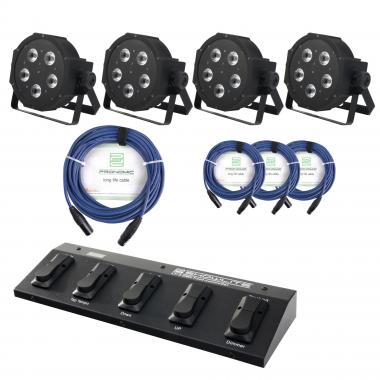 Showlite FLP-5x9W set de  4 x plus controlador pie (FootController) y cable
