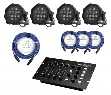 Showlite FLP-12x1W Scheinwerfer 4 x Set inkl. DMX Controller & Kabel