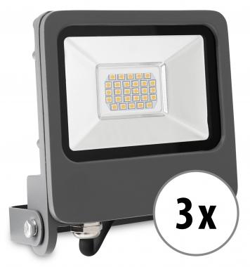 3x Showlite FL-4020 WW LED Fluter IP65 20 Watt 1600 Lumen warm-weiß Set