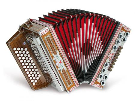Strasser 4/III De Luxe Harmonika 4-reihig, 3-chörig G-C-F-B, mit X-Bass, Mahagoni/Schwarz