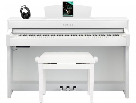 Yamaha CLP-635 WH Digitalpiano Weiß matt SET mit Kopfhörer, Bank, Schule