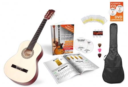 Calida Lucia 3/4 guitare de concert set de débutant nature avec accessoires