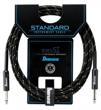 Ibanez SI10-BG Woven Guitar Cable 3,05m - Black/Green