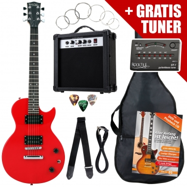 Rocktile L-Pack guitare électrique Red incl. ampli, housse, accordeur, câble, sangle