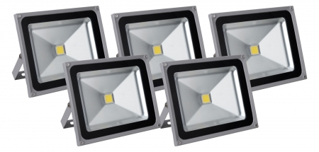 Set de 5 focos FL-2050 LED IP65 50 W 5500 Lumen