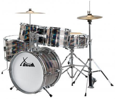 XDrum Junior Pro Kinder Schlagzeug Laser Silver inkl. Schule + DVD  - Retoure (Zustand: sehr gut)