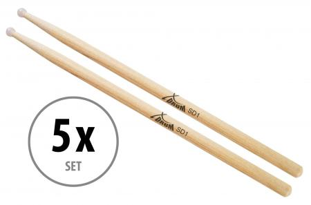 5 pares XDrum SD1N baquetas, punta de nailon, nogal (Hickory)