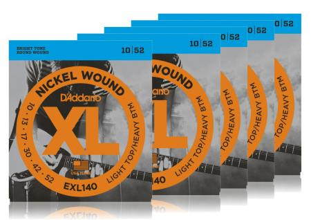 D'Addario EXL140 Light Top/Heavy Bottom - 5er Pack