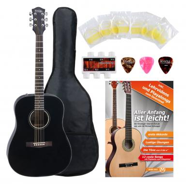 Rocktile D-60 Acoustic Guitar Black SET including accessories set