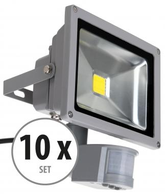 Showlite FL-2020B LED Fluter IP65 20 Watt 2200 Lumen Bewegungsmelder 10er SET