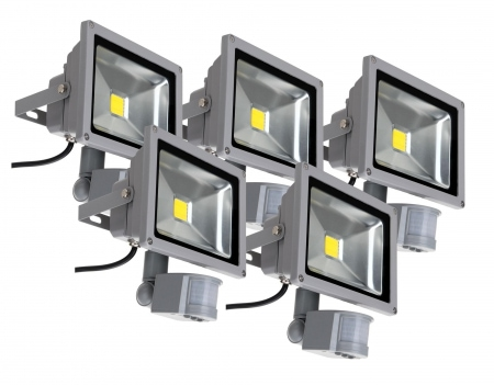 Showlite FL-2020B LED Floodlight IP65 20 Watt 2200 Lumen Motion Detector 5-piece SET