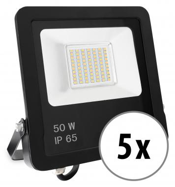 5x Showlite FL-3050 NW LED Fluter IP65 50 Watt 4000 Lumen neutral-weiß Set