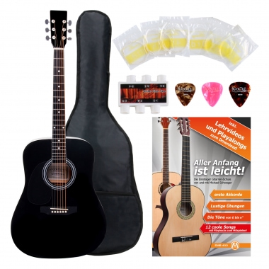 Classic Cantabile Acoustic Guitar for Left-Handers Starter-SET incl. 5-piece accessory set, black