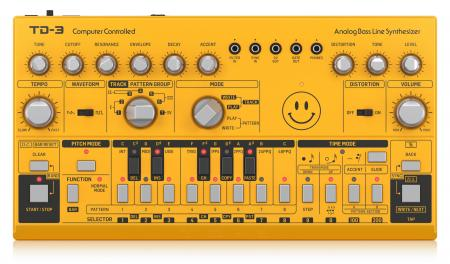 Behringer TD-3-AM Yellow Acid Smiley Edition Synthesizer