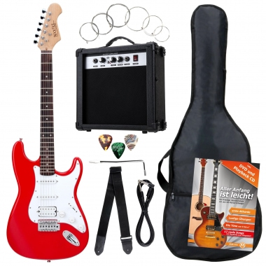 Rocktile Banger's Power Pack E-Gitarren Set, 8-Piece, Red