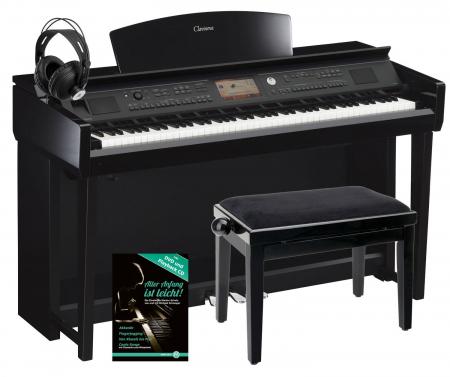 Yamaha CVP-705 PE Clavinova Digitalpiano Schwarz Hochglanz SET inkl. Bank + Kopfhörer + Klavierschule