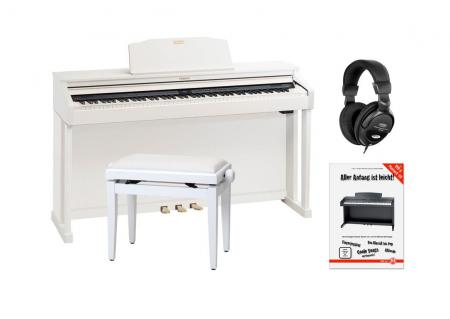 Roland HP504-WH E-Piano weiß matt SET mit Pianobank, Kopfhörer und Schule