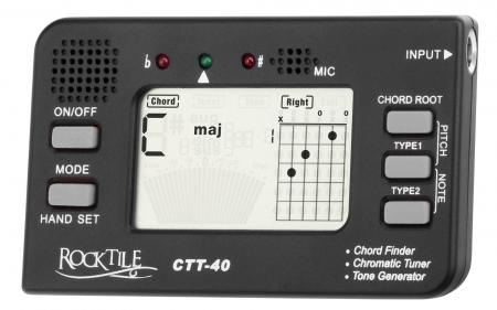 Rocktile CTT-40 Chord Finder / Tuner All-in-One Device for Guitarists with Tone Generator, Chord Finder, Clock and Headphone Jack