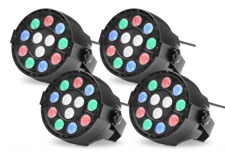 4x Showlite SPS-121 LED Smart Party Spot 12x 1W RGBW
