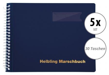 5er Set Helbling BMB30 Marschbuch blau 30 Taschen