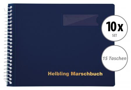 10er Set Helbling BMB15 Marschbuch blau 15 Taschen