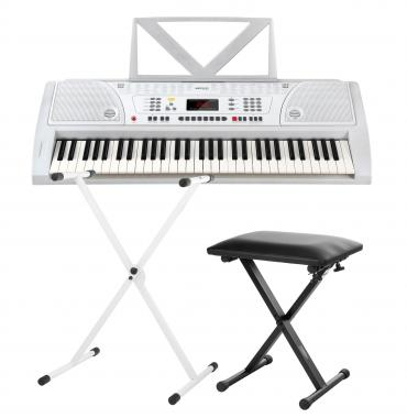 Funkey 61 keyboard set white incl keyboard stand and bench Keyboard stand and bench