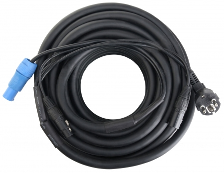 Pronomic Stage EUPPD-15 cable híbrido, enchufe toma tierra/Powercon compatible + DMX 3-polos, 15m