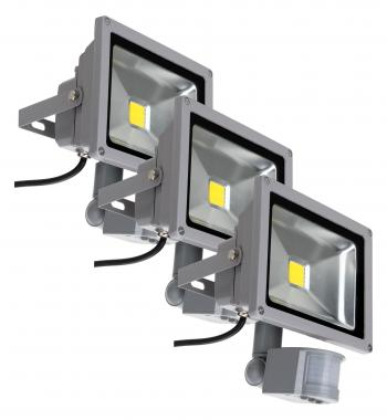 Showlite FL-2020B LED Fluter IP65 20 Watt 2200 Lumen Bewegungsmelder 3er SET