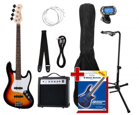 Rocktile Paquet JB Basse Électrique Set III Sunburst  +  Accordeur à Clipser + Stands de Guitare