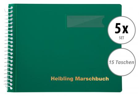 5er Set Helbling BMG15 Marschbuch grün 15 Taschen