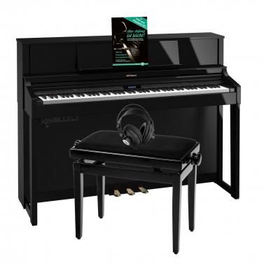 Roland LX-7 PE Digitalpiano schwarz hochglanz SET mit Kopfhörer, Bank, Noten