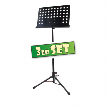 Classic Cantabile atril orquesta chapa perforada Heavy negro set de 3x