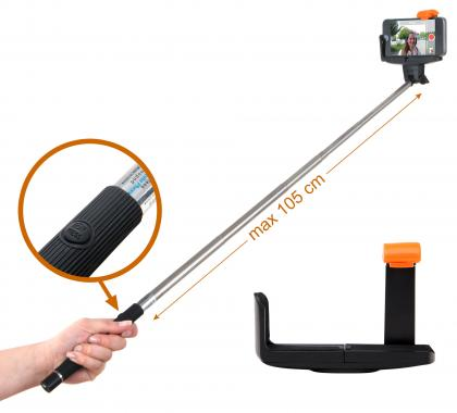 Lacoon Z07-5BK Bluetooth Selfie Stick for iOS & Android Smartphones