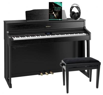 Roland HP605-CB Digitalpiano Schwarz Matt SET inkl. Pianobank, Kopfhörer und Schule