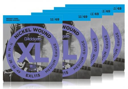D'Addario EXL115 Medium/Blues-Jazz Rock - 5er Pack