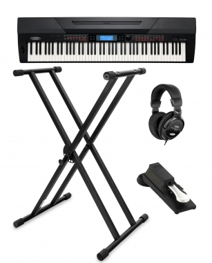 Set Stage Piano Classic Cantabile SP-250 BK negro (incl. soporte, auriculares y pedal)