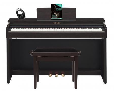 Yamaha CLP-625 R Digitalpiano Rosenholz SET mit Kopfhörer, Bank, Schule