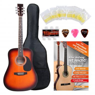 Classic Cantabile Acoustic Guitar Starter-SET incl. 5-piece accessory set, sunburst