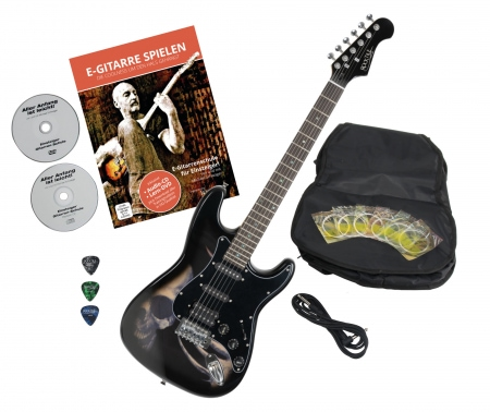 Rocktile Pro ST60-SK electric guitar with skull accessories