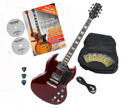 Rocktile Pro S-R Electric Guitar Heritage Cherry with accessories
