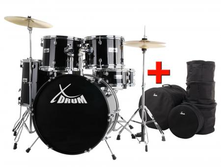 "Xdrum Semi Slagwerkset 22"", Black, plus tassen"