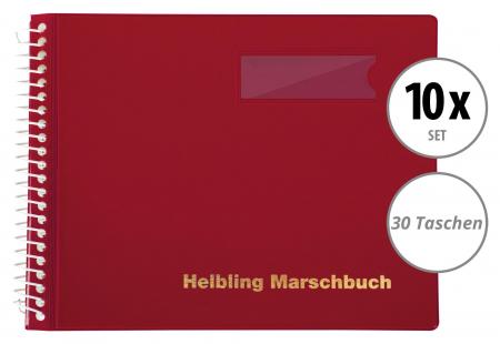 10er Set Helbling BMR30 Marschbuch rot 30 Taschen