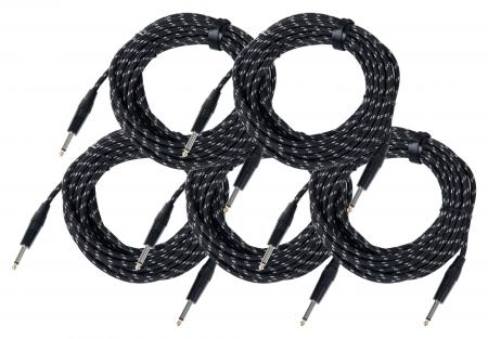 Pronomic Stage INST-10T cable de instrumentos en textil clavija jack set de 5 x 10 m, 1,5 mm