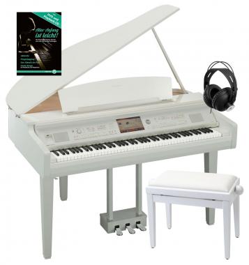 Yamaha CVP-709 GPWH Clavinova Digitalflügel Weiß Hochglanz SET inkl. Bank + Kopfhörer + Klavierschule