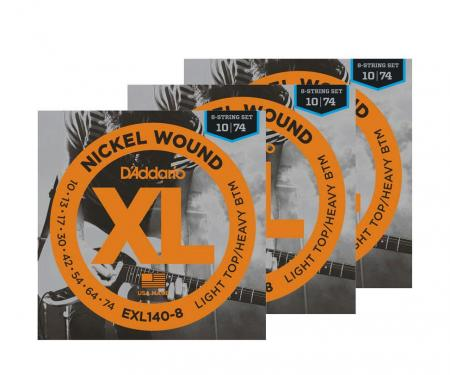 D'Addario EXL140-8 8-string Light Top/Heavy Bottom - 3er Pack