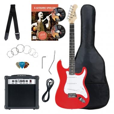 Rocktile banger's pak e-gitaar set, 8-delige rood