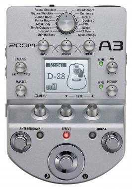 Zoom A3 Preamp & Effekt für akustische Gitarre