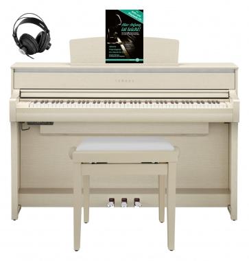 Yamaha CLP-675 WA Digitalpiano Weißesche SET mit Kopfhörer, Bank, Schule